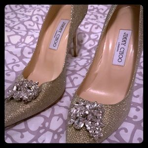 Gold Mamey Glitter Crystal Embellished Pumps